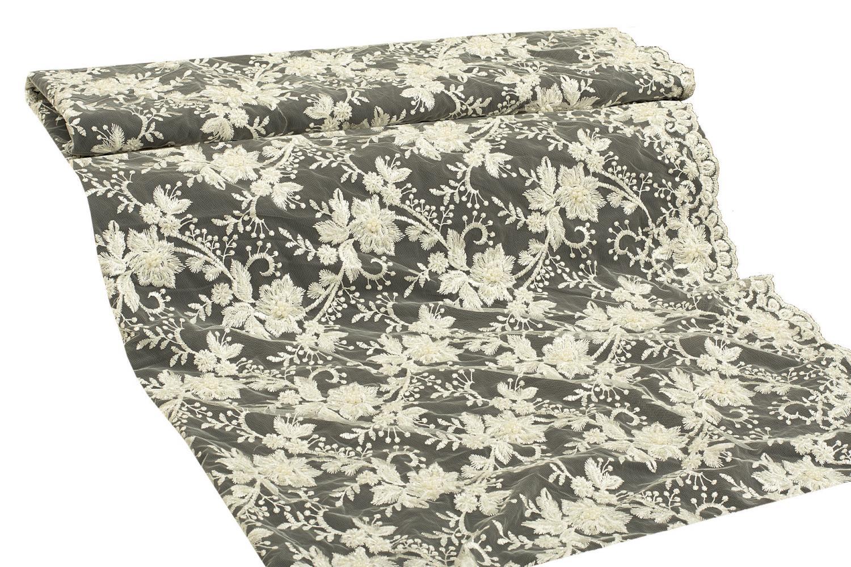 Гипюр с вышивкой и бисером - 13166